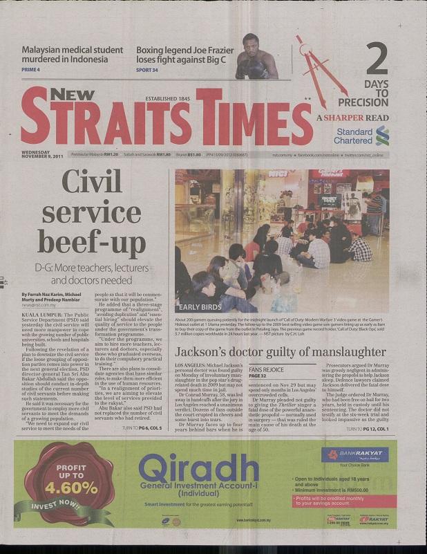Strait Times Newspaper - New Straits Times Newspaper